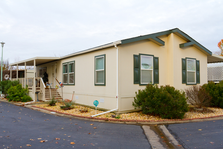 A new manufactured home at a retirement trailer park.