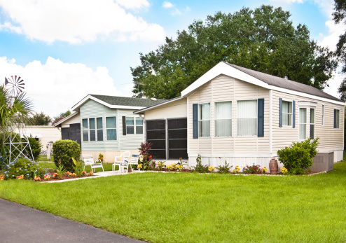 Mobile homes in a manufactured home park.