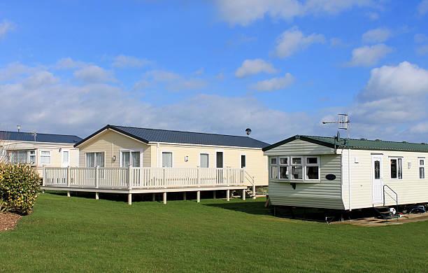 Scenic view of modern trailer of caravan park in summer. mobile home park