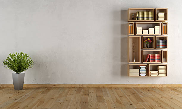 Empty interior with wooden wall bookcase