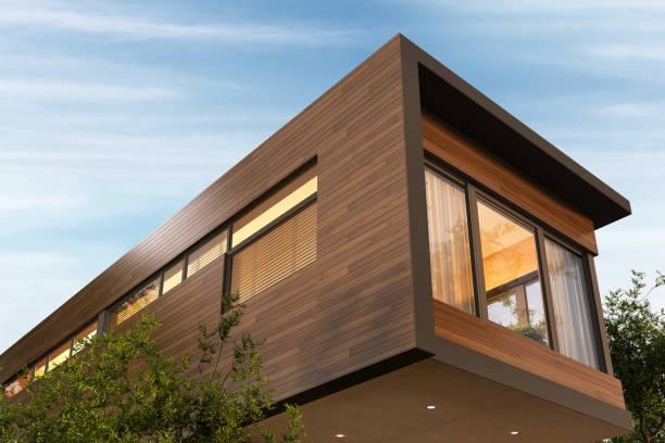 Beautiful modern house and beautiful blue sky