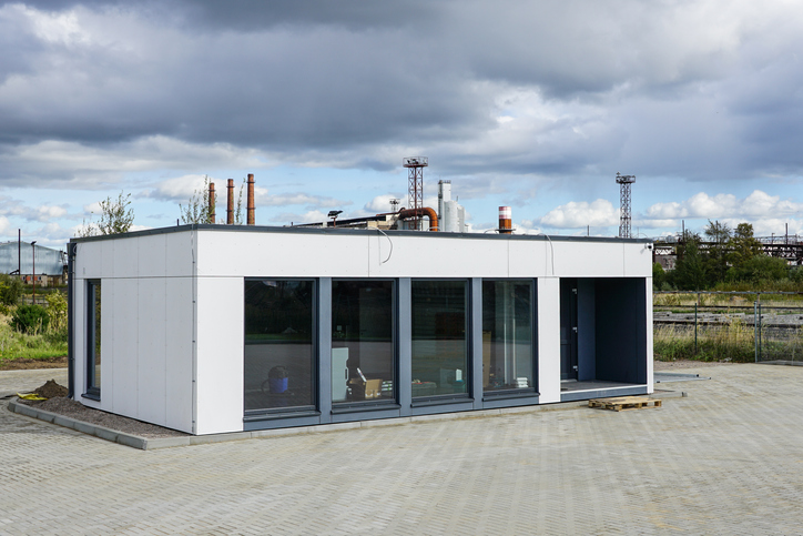 a new modular house for a small office in city