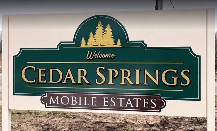 Cedar Springs Mobile Esates Outdoor Signage