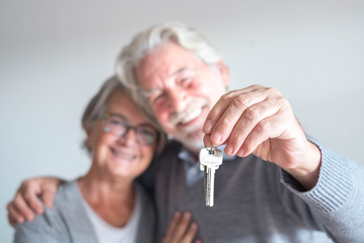 couple of two seniors after buy a new house
